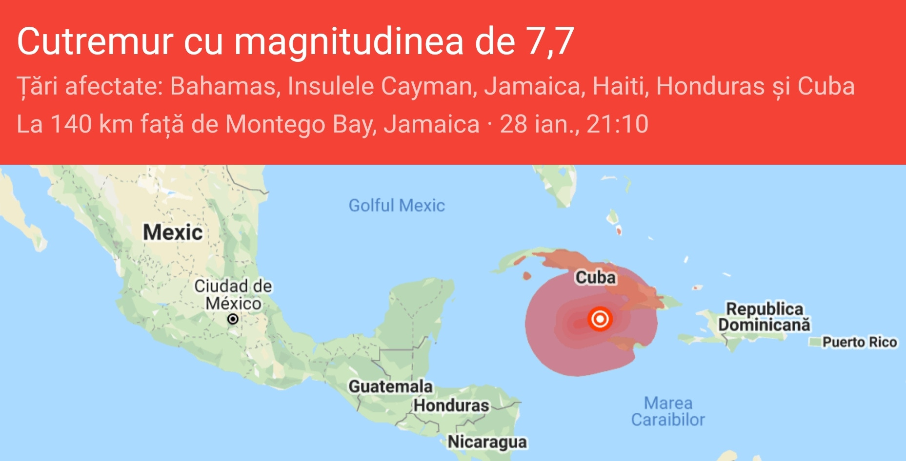 ALERTA TSUNAMI: Cutremur 7,7 magnitudine în Marea Caraibelor!