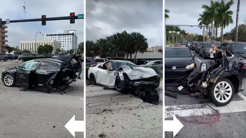 ACCIDENT! O TESLA a fost rupta in DOUA de un Nissan GT-R!