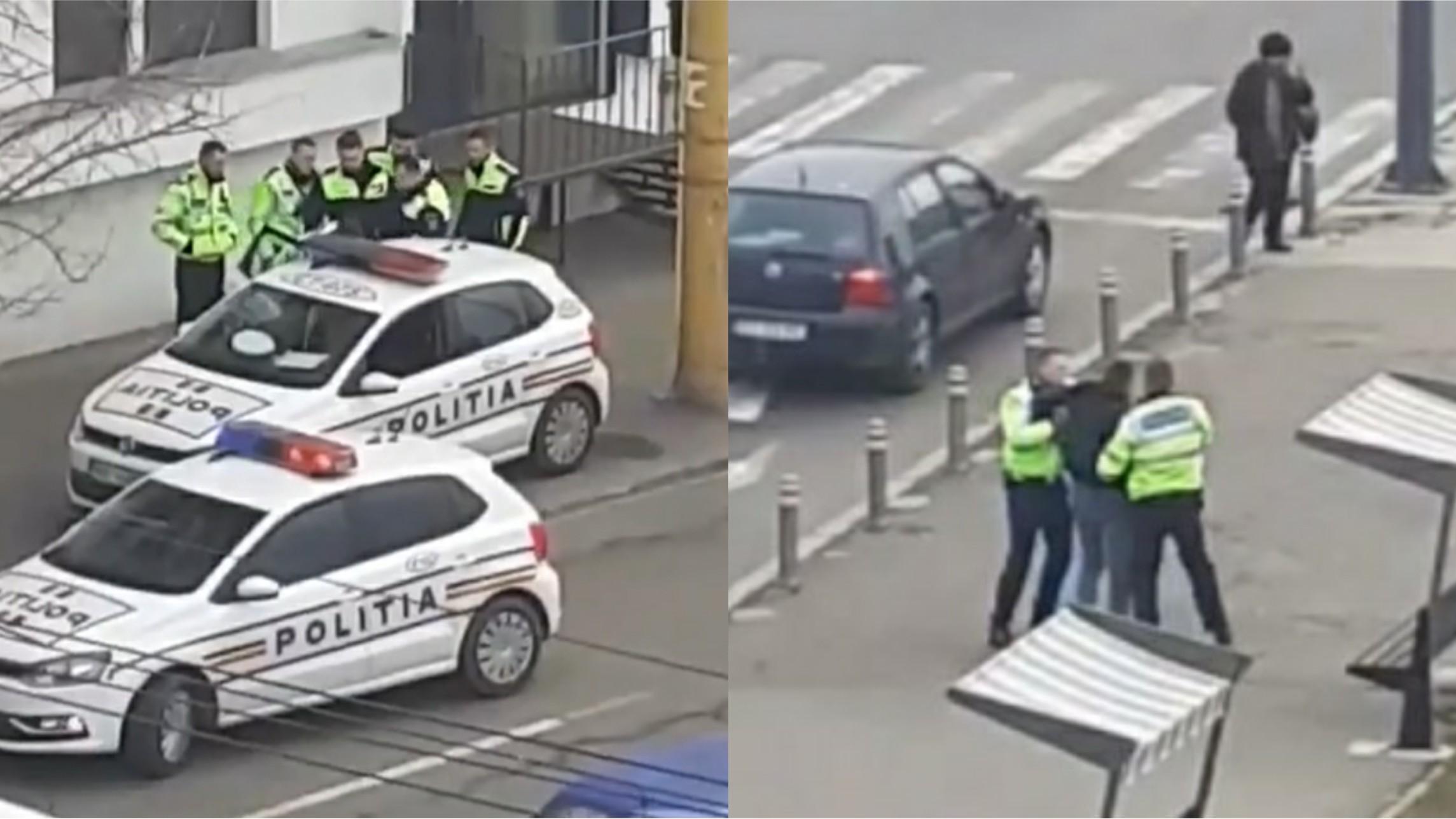 Video | De 7 polițiști a fost nevoie pentru a imobiliza un bărbat care a traversat strada prin loc nepermis!
