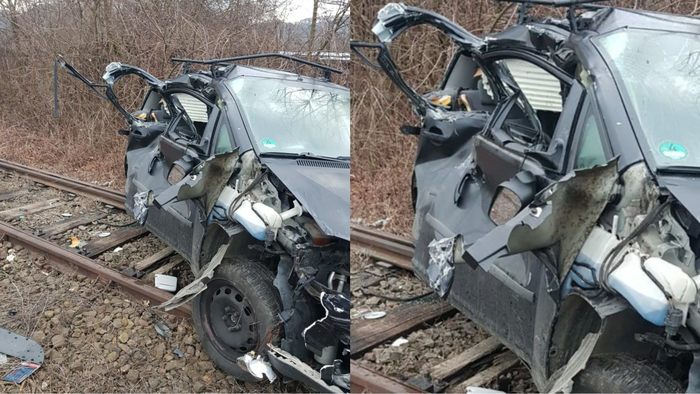 Accident feroviar în Vâlcea, un autoturism izbit în plin de tren, două persoane rănite.