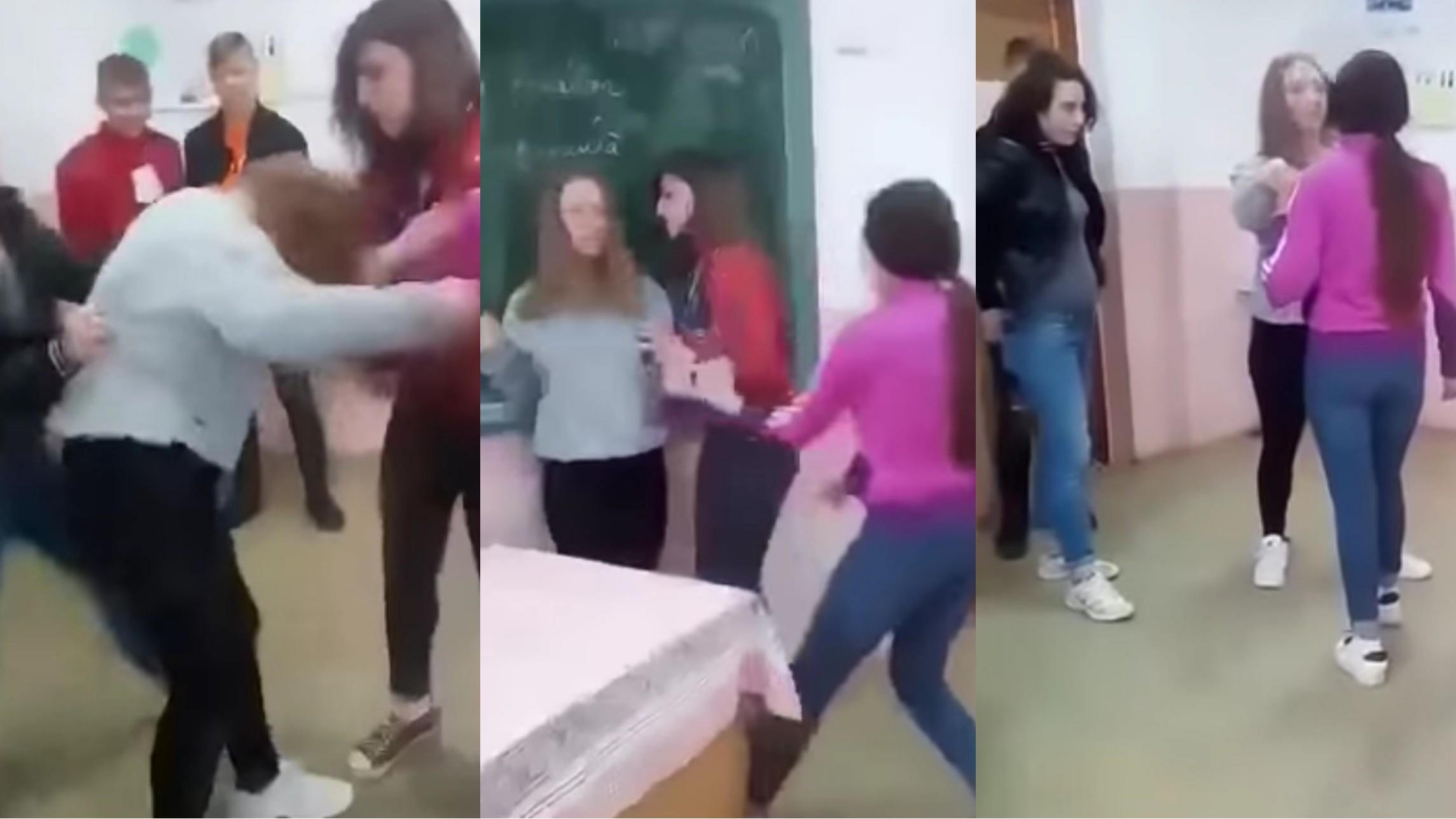 Video   Bătaie într-o sală de clasă: 3 eleve s-au bătut într-un liceu din Botoşani. Elevele au fost amendate de poliţiști
