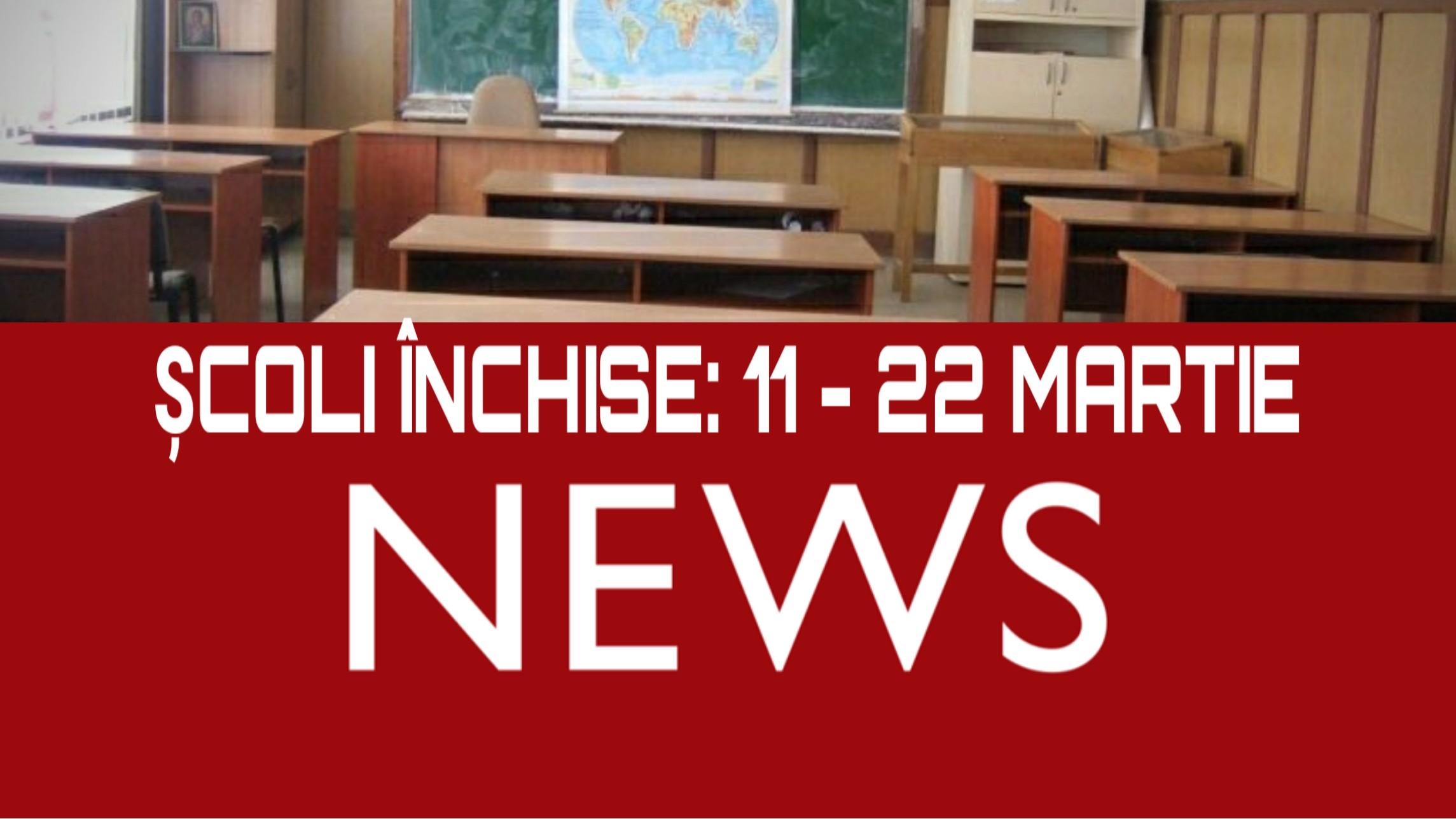 Toate ȘCOLILE din România vor fi închise între 11 şi 22 martie