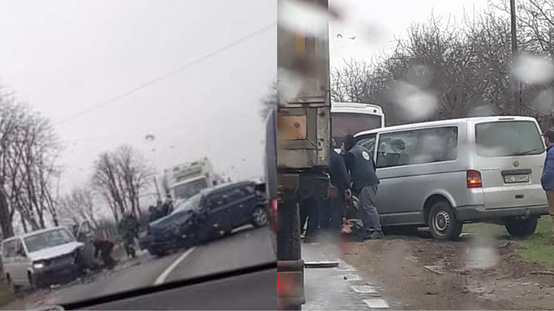 Foto | Două victime în urma unui impact fontal între un microbuz și un autoturism în Bacău