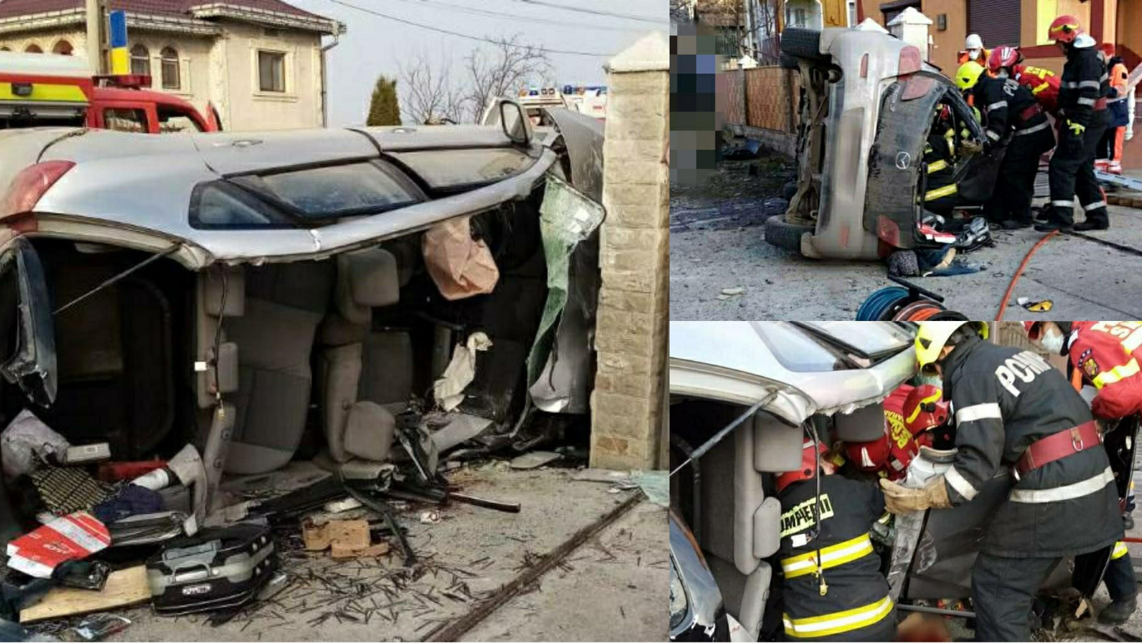 Foto | Impact mortal în Suceava! O mașină a intrat într-un cap de pod