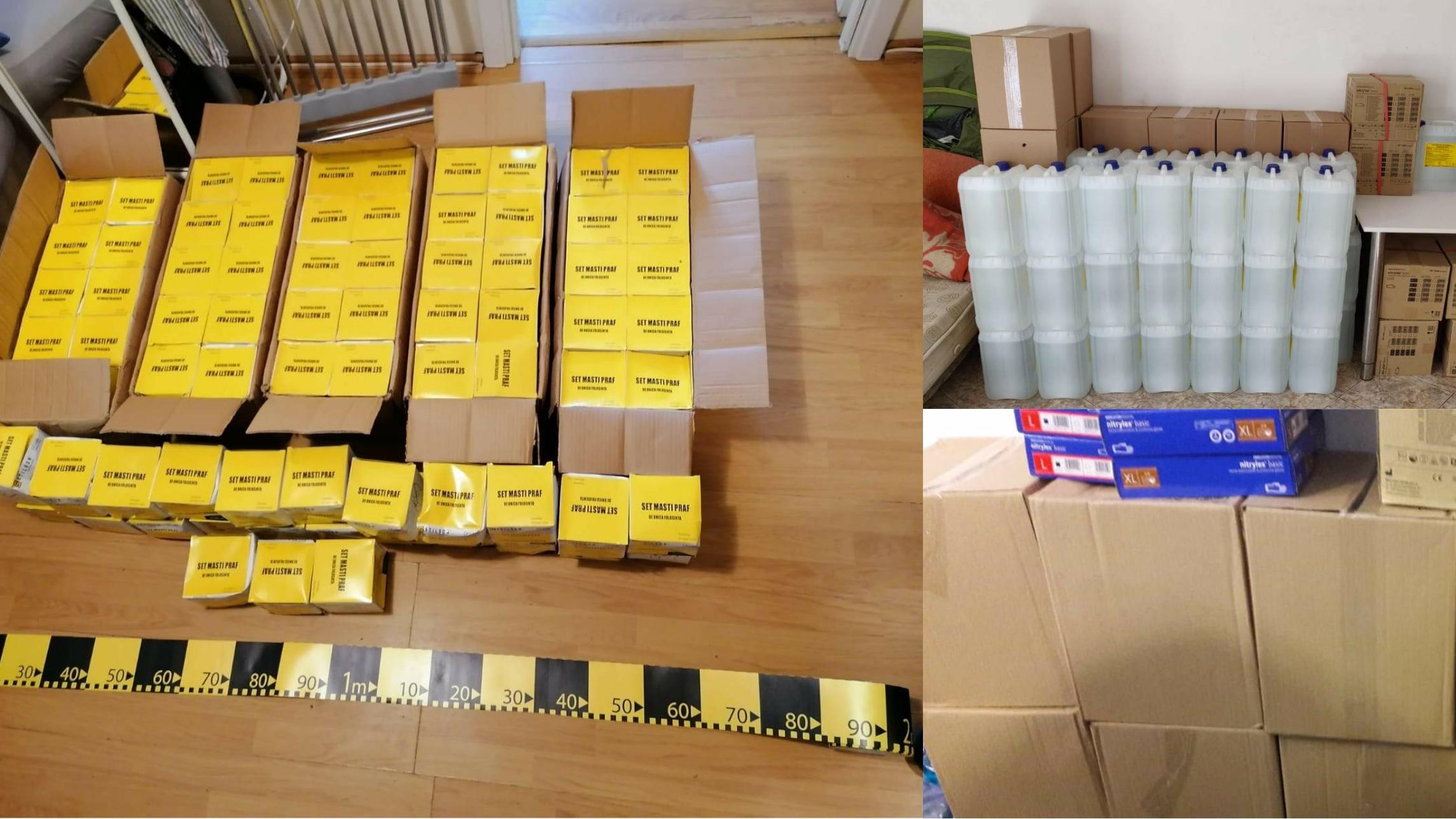 Comerț ilicit cu echipamente medicale de protecție: polițiștii au confiscat 9.000 de măşti, 10.000 de perechi de mănuşi și 600 de litri dezinfectant
