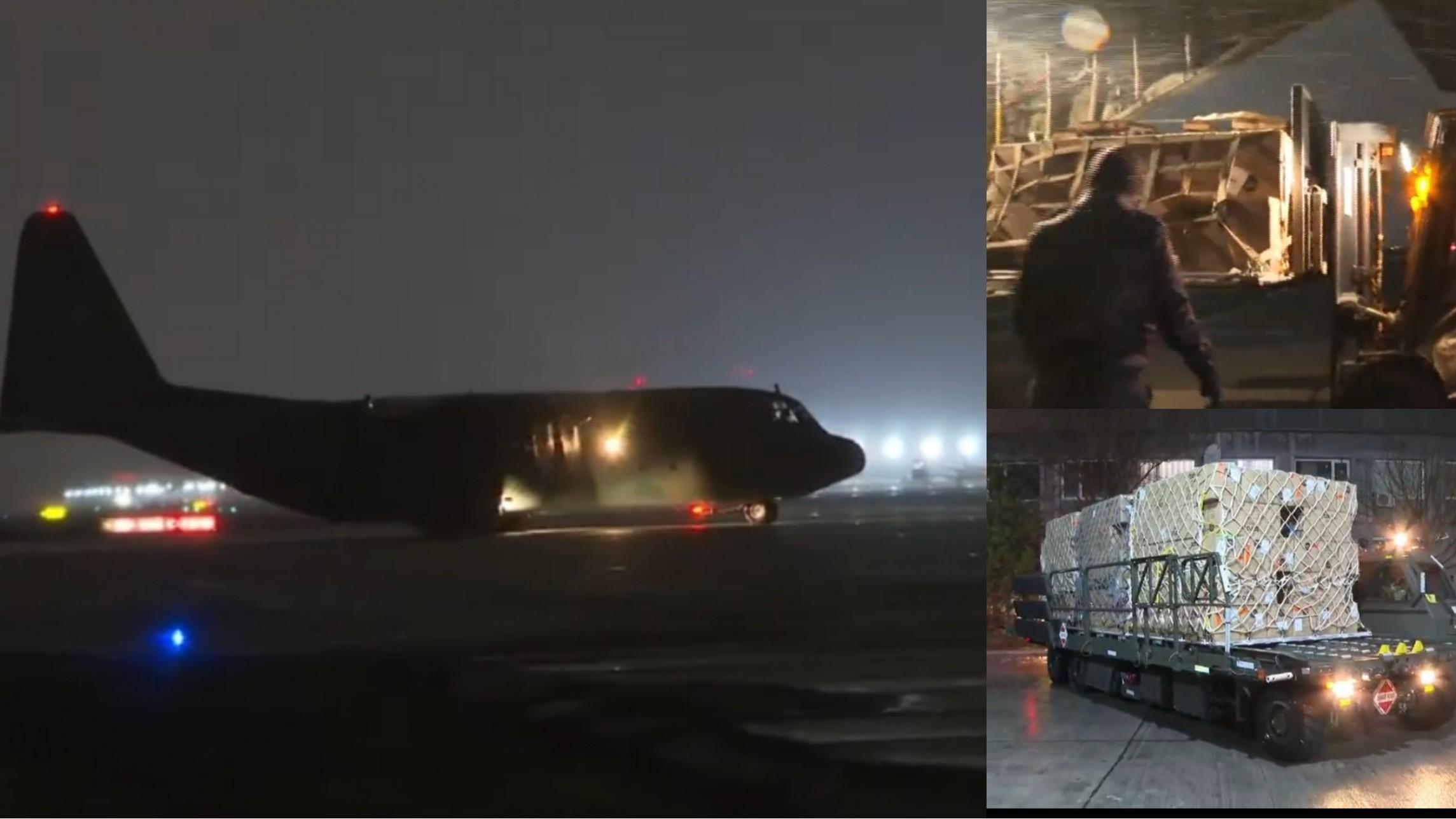 Un avion C-130 Hercules cu echipamente de protecție sanitară pentru Spitalului ROL 2, a aterizat pe aeroportul Otopeni