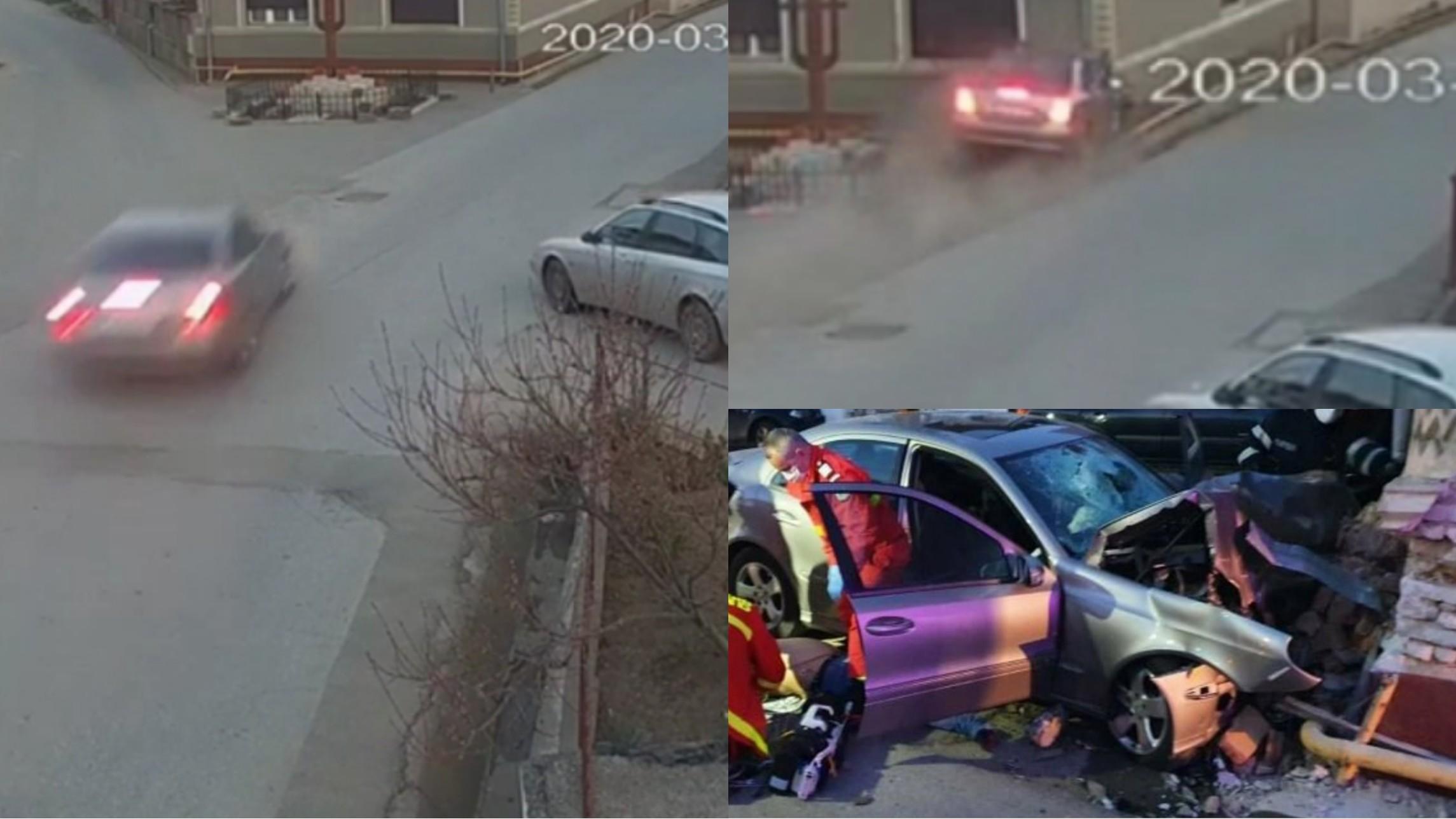 Video | Imagini dinaintea accidentului din Alba, unde un bărbat a murit după ce s-a izbit violent cu mașina în peretele unui imobil
