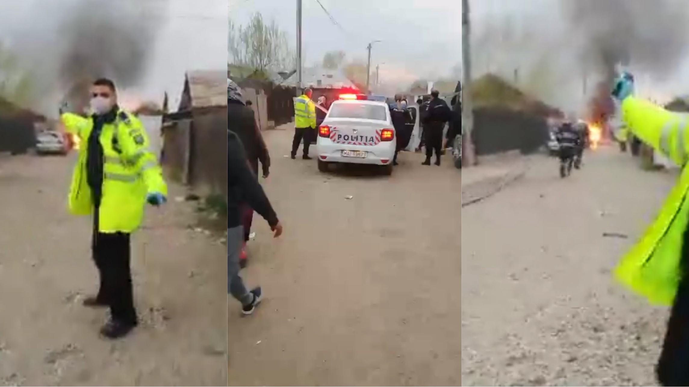Video | Răfuială între două clanuri de romi din Ploiești, încheiată cu focuri de armă! O mașină a fost incendiată și două distruse