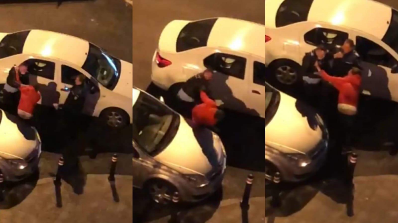 Video | Polițist filmat în București,  în timp ce lovește violent cu pumnii un bărbat