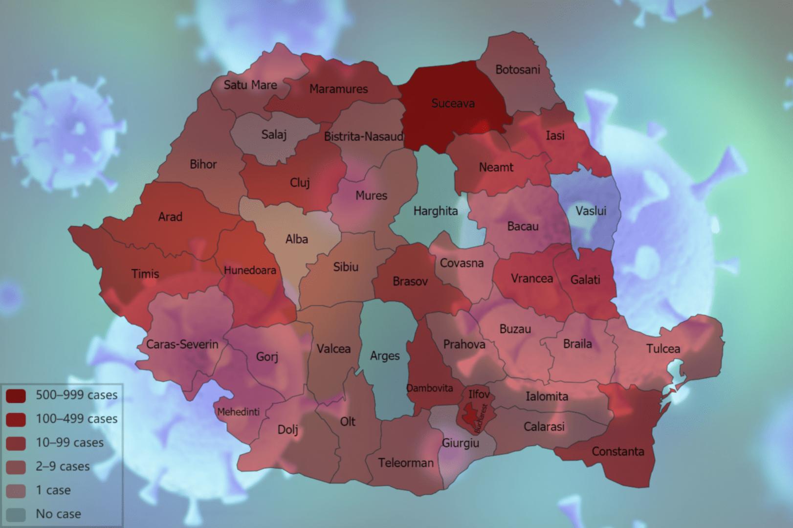 Situaţia pe judeţe a cazurilor de coronavirus: Suceava și București, cele mai multe cazuri de coronavirus