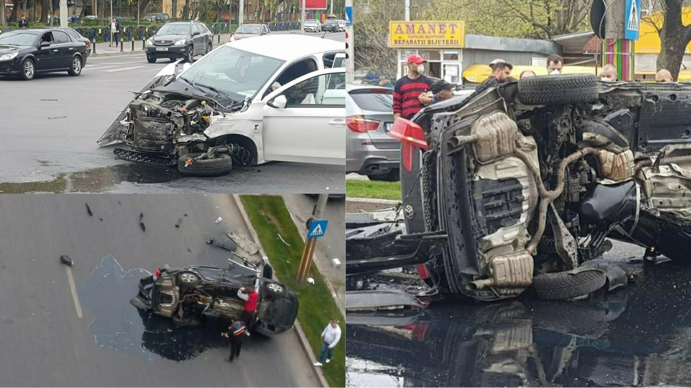 Foto | Accident în Bucureşti: şofer rănit grav după ce a trecut pe roșu a lovit cu maşina alte trei autoturisme și s-a răsturnat
