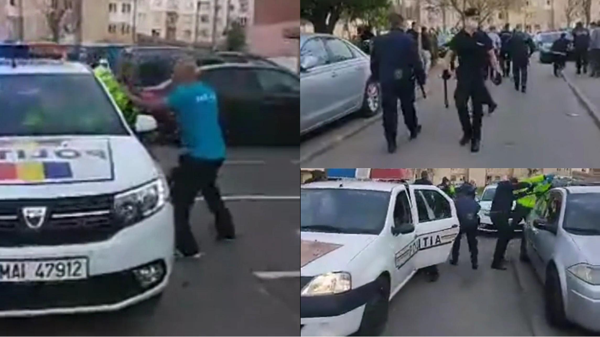 Revoltă într-un cartier din Hunedoara! Polițiști atacați și mașini distruse
