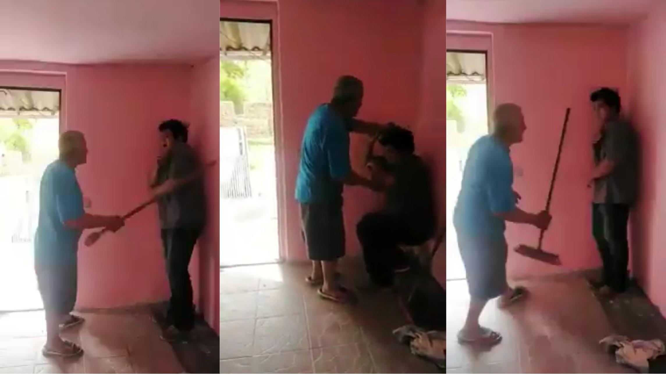 Tată filmat când își bate băiatul pentru că ar fi furat din casă
